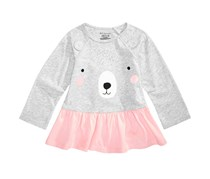 First Impressions Toddler Girls Bear-Print Tunic, Gray