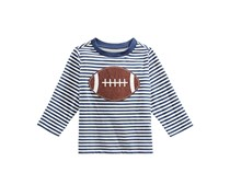 First Impressions Boys Football-Print Cotton T-Shirt, White/Navy