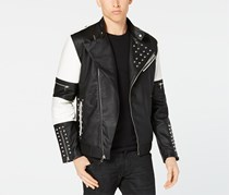 INC Men's Studded Flight Bomber Jacket, Black/White