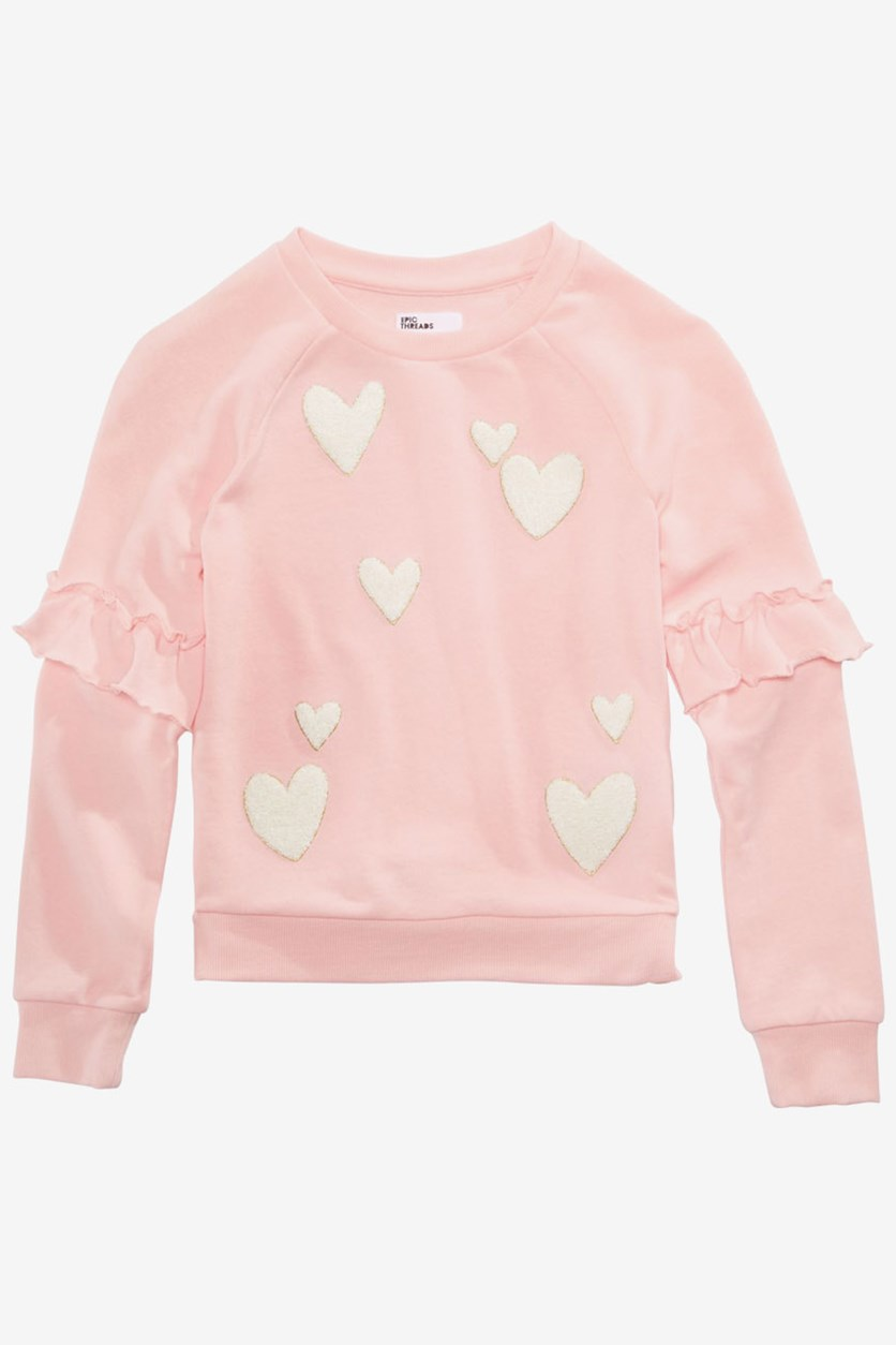 Big Girls Graphic Sweatshirt, Opal Blush