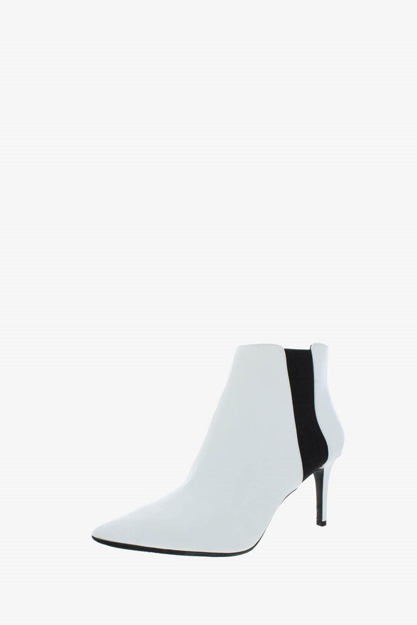 Women's Faux Leather Pointed Toe Booties, White/Black