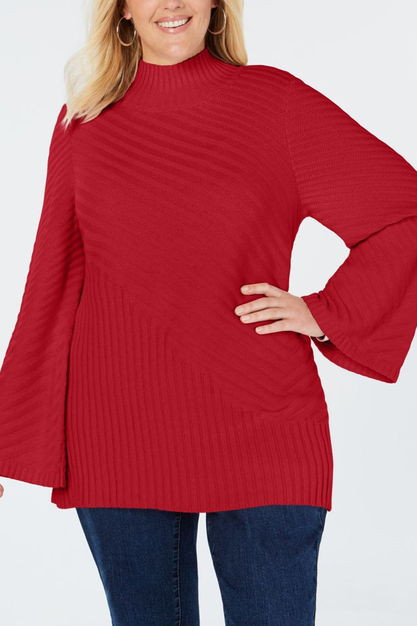 Women's Plus Size Mock Neck Bell Sleeves Sweater, Red