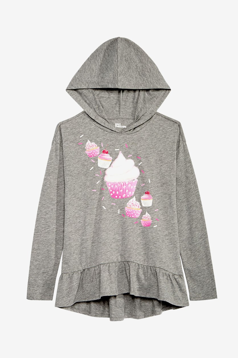 Big Girls Hooded Sweater-Knit Top, Grey Heather