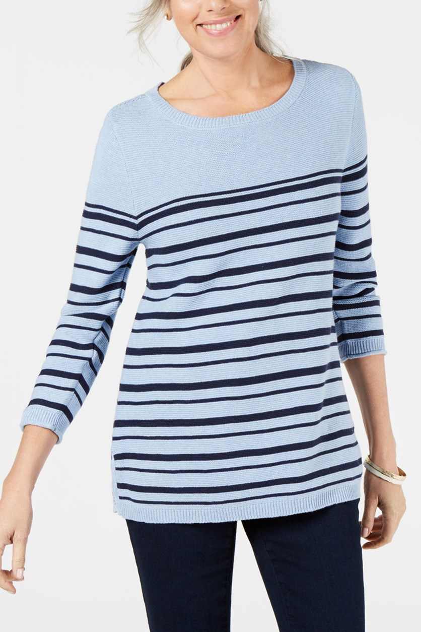 Women's Striped Long Sleeves Pullover Sweater, Light Blue Heather Combo