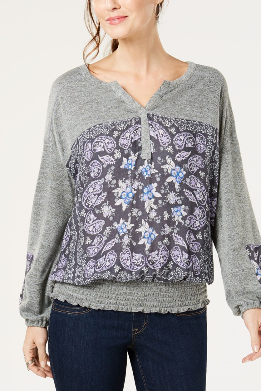 Women's Mixed Media Long Sleeves Henley Top, Gray/Purple