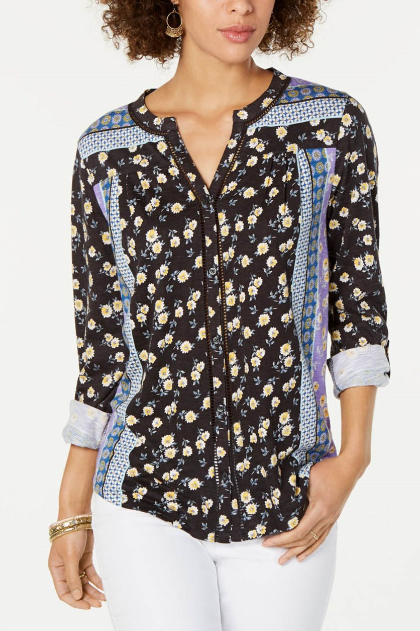 Women's Mixed-Print Roll-Tab Top, Patchwork Gray