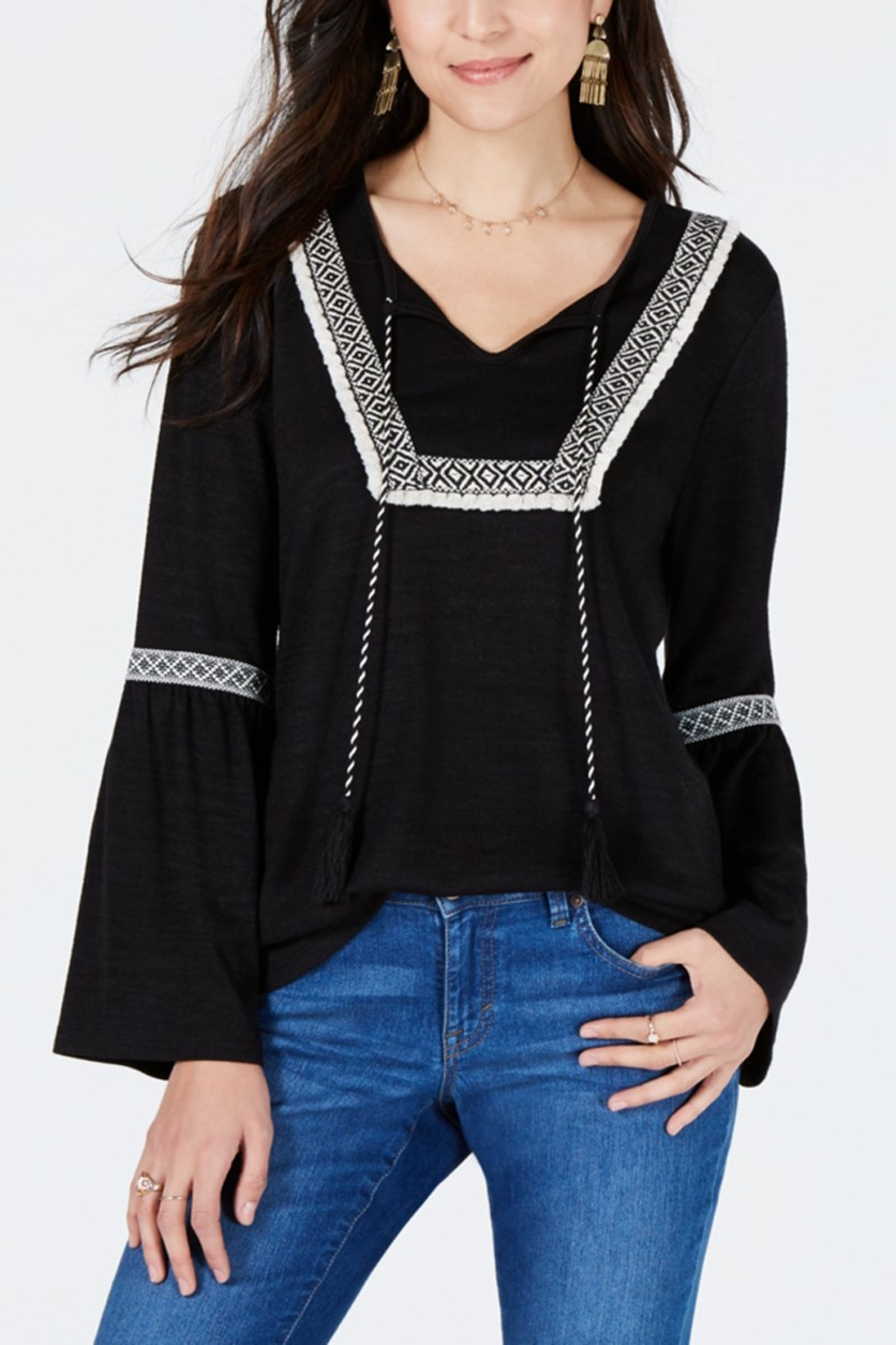 Women's Embroidered-Trim Solid Peasant Top, Black