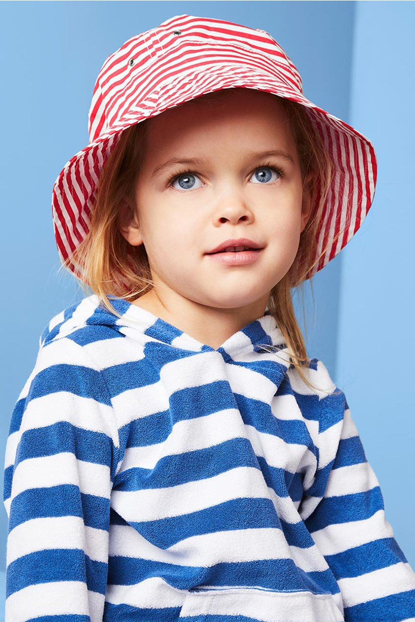Kid's Girls Sunhat, Red/White