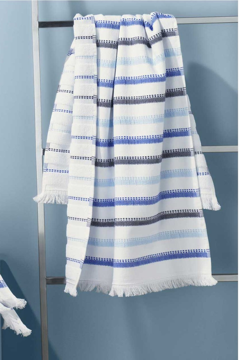 Set Of 2 Hand Towels, Blue/White