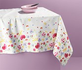 Table Cloth Floral, White/Pink