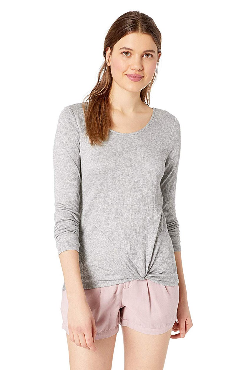 Women's  Knotted Hem Top, Heather Grey