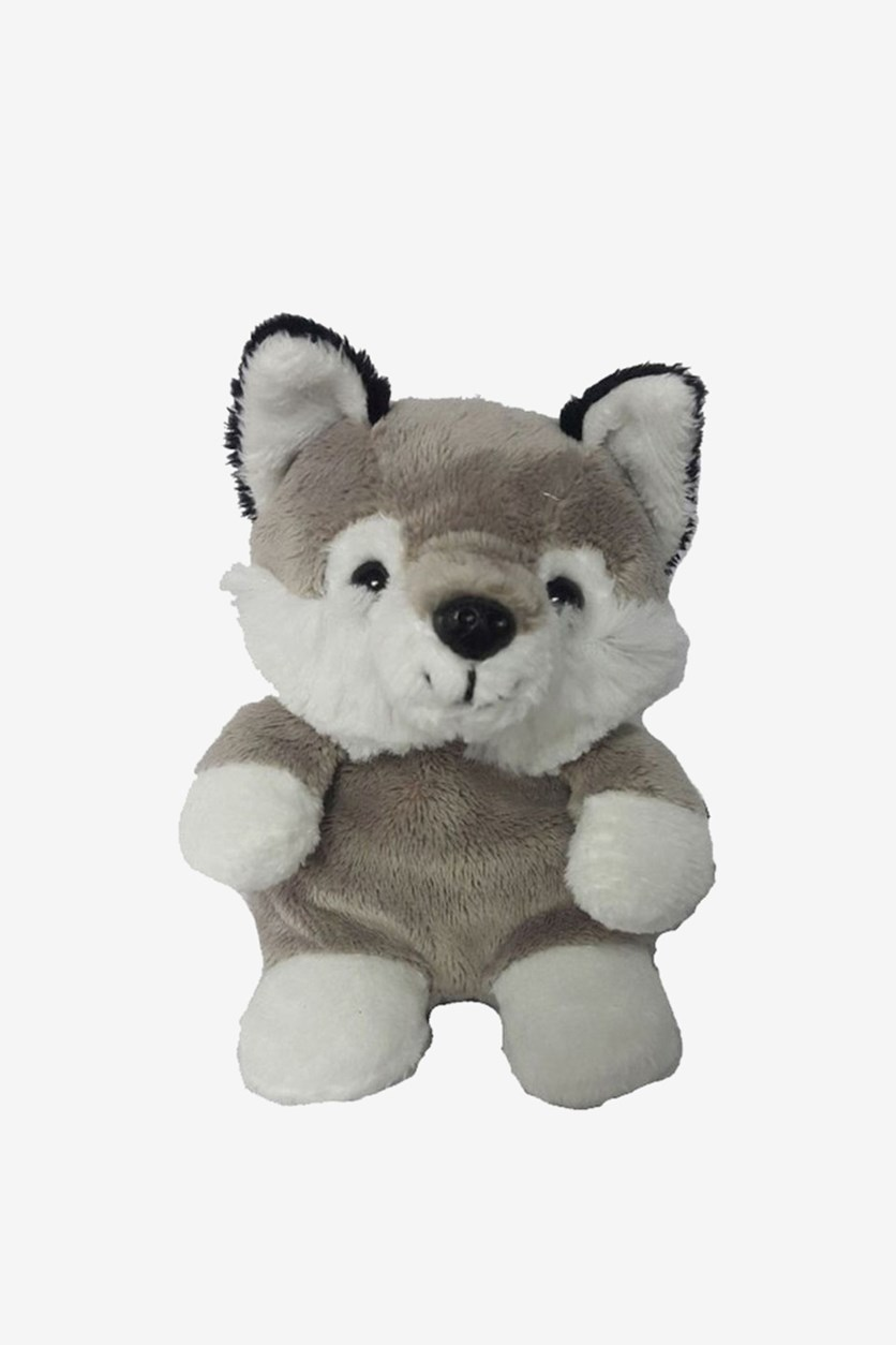 Wolf Sitting Plush Toy, Taupe/White