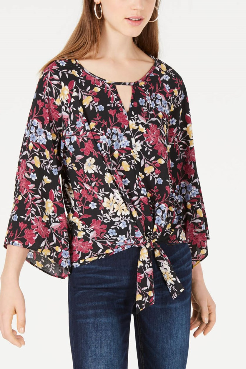 Floral Tie Front Woven Top, Black Combo