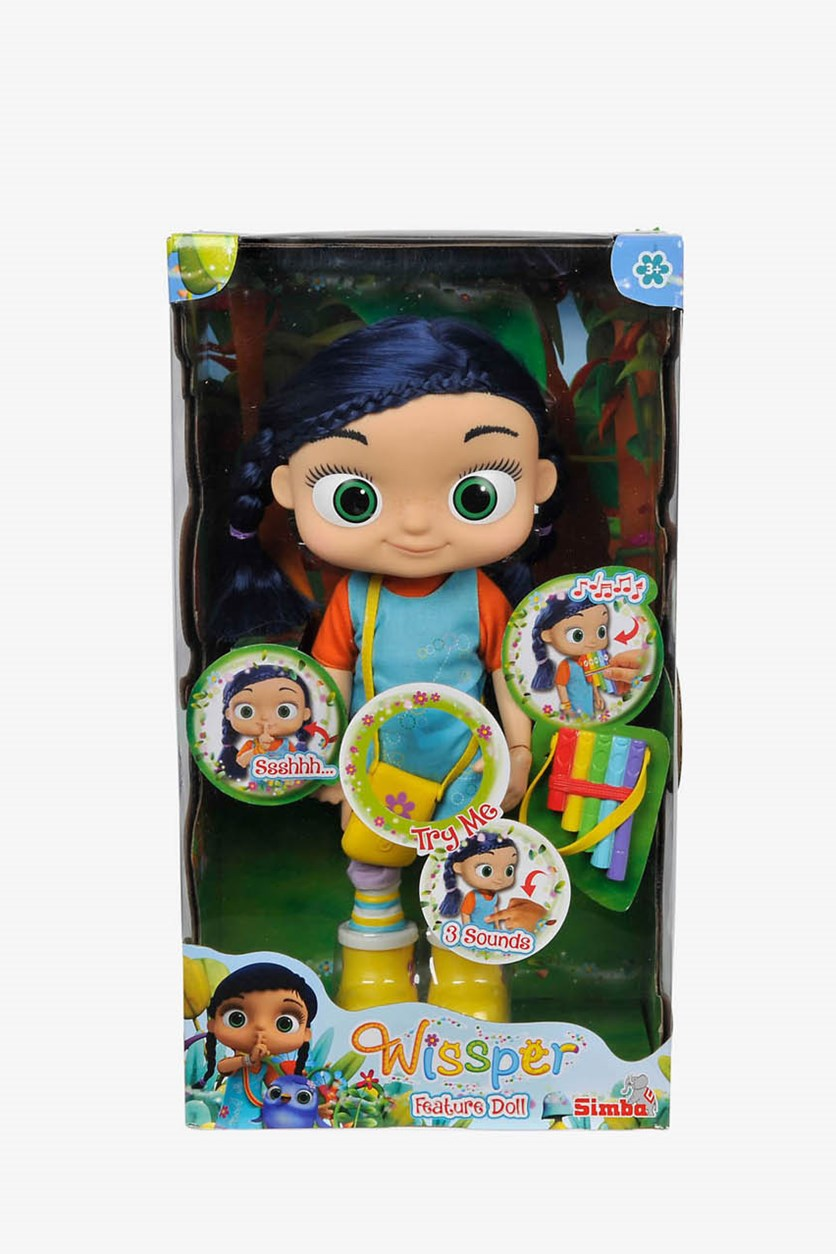 Wissper Interactive Functional Doll 34 cm With Sound, Blue/Orange/Yellow