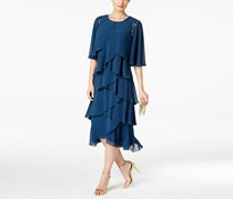 SlNY Fashions Women's Tiered Chiffon Dress and Jacket, Navy