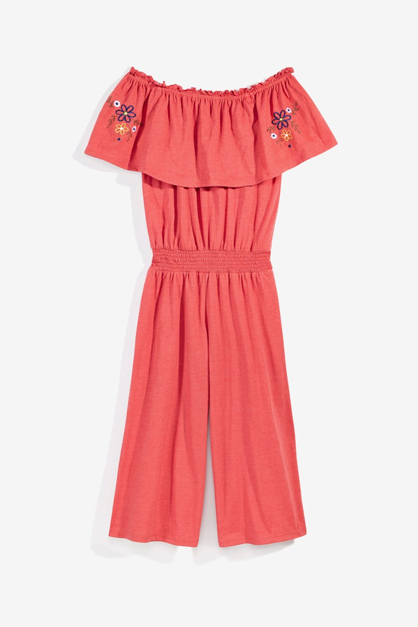 Big Girls Off-The-Shoulder Jumpsuit, Red