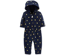 Carter's Baby Girls Smiley Face 1-Pc. Jumpsuit, Navy