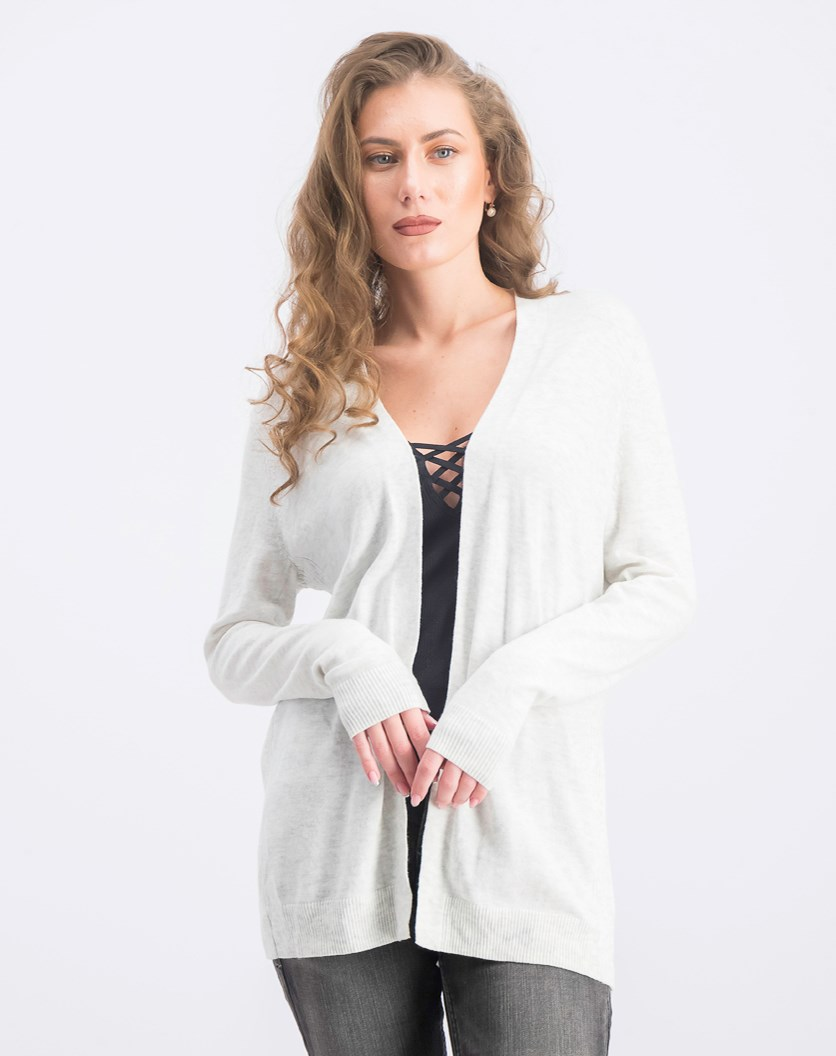 Women's Long Sleeve Open Front Cardigan, Light Grey