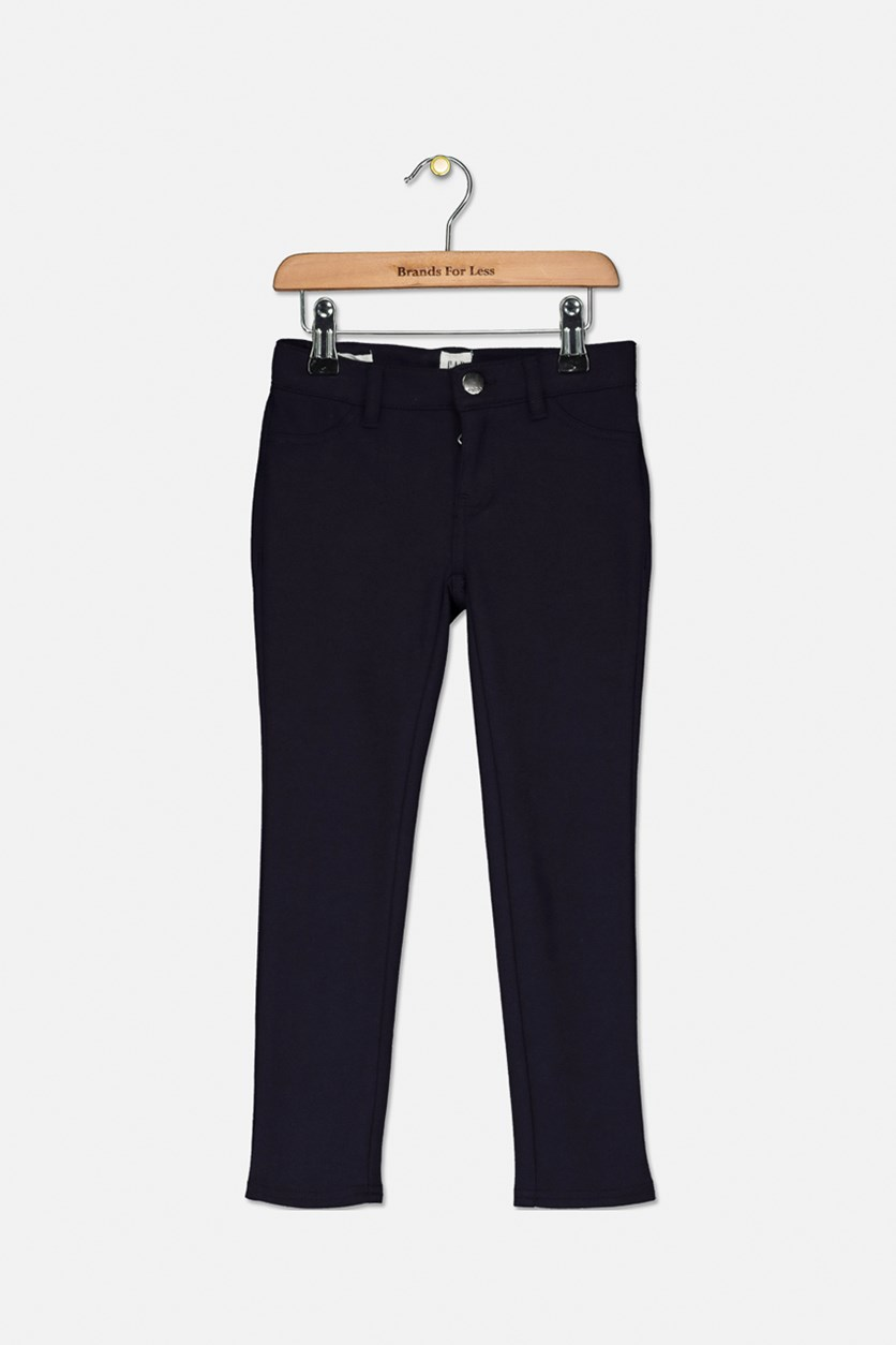 Kids Girls Two Back Pocket Pants, Navy
