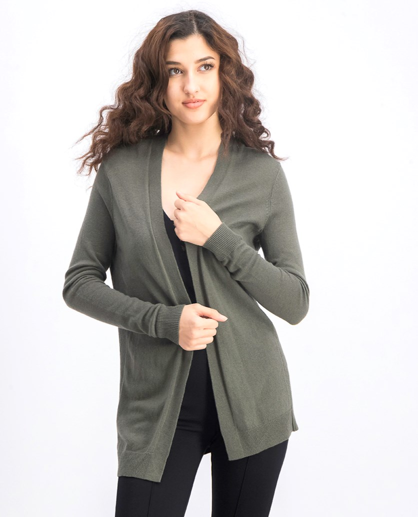 Women's Open Front Long Sleeve Cardigan, Olive