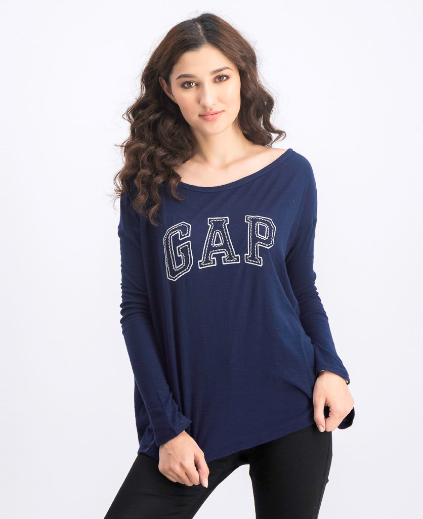 Women's Embroidered Top, Navy