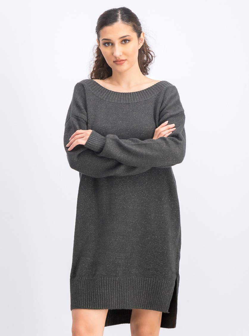 Women's Metallic Sweater Dress, Dark Grey