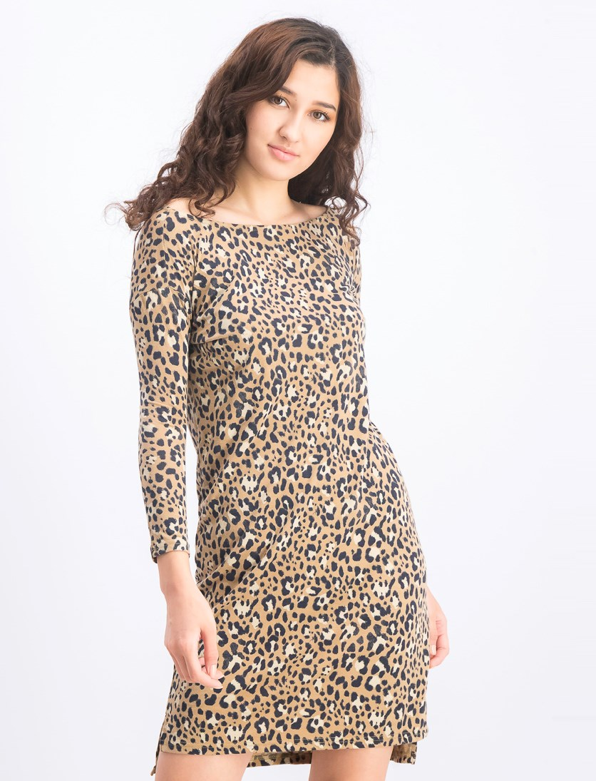 Women's Animal Printed Dress, Brown/Black