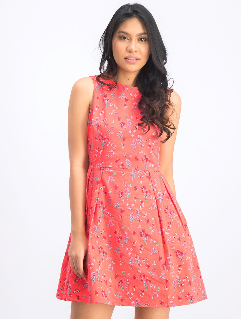 Women's Floral Print Sleeveless Dress, Red