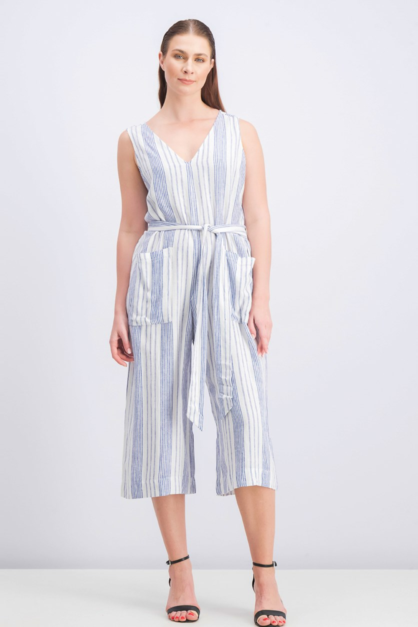 Women's Striped Sleeveless Jumpsuit, White/Navy