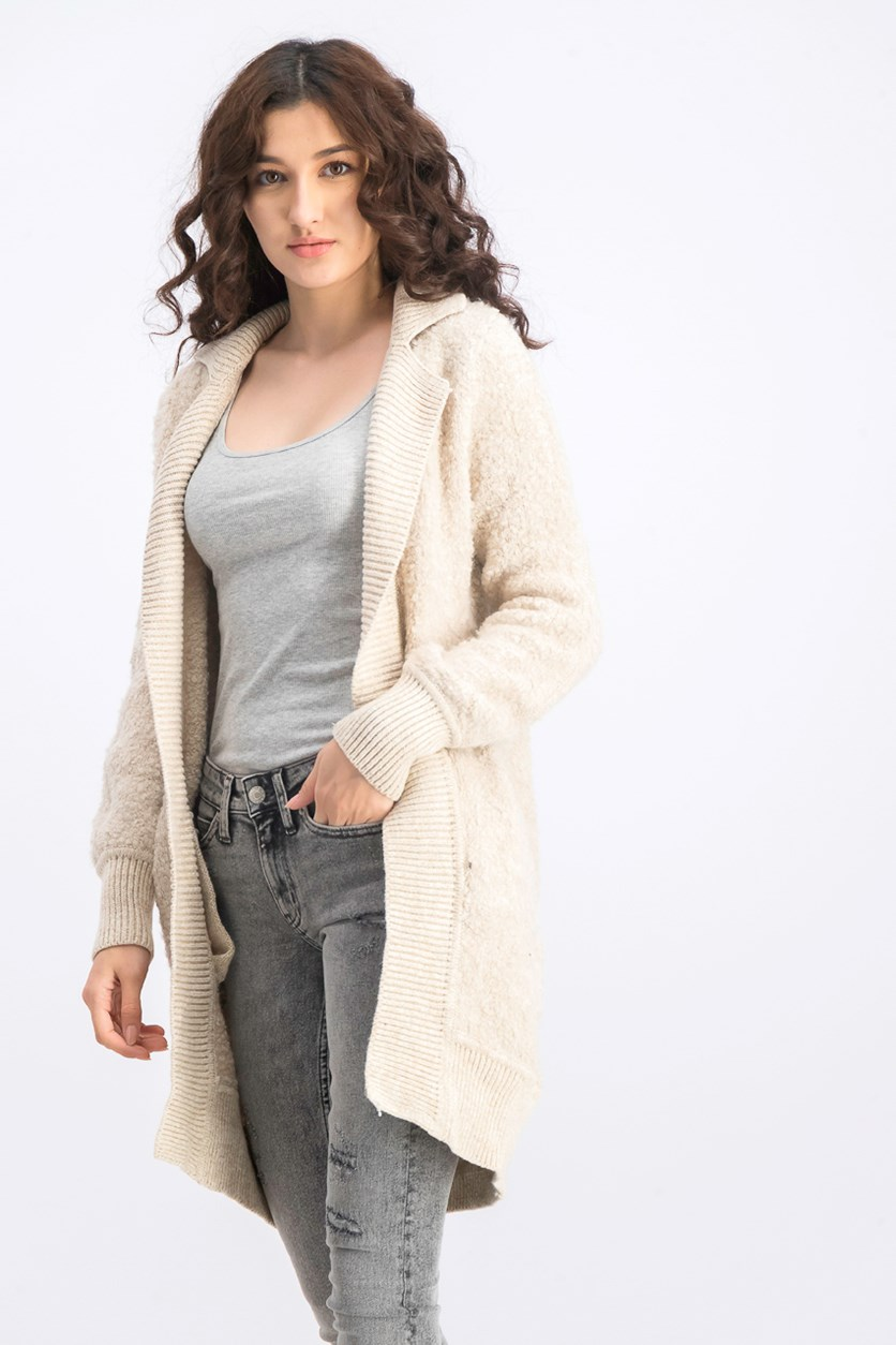 Women's Long Sleeve Open Front Cardigan, Beige