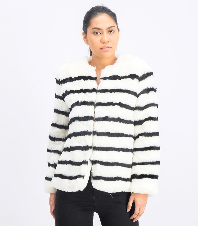 Women's Faux Fur Jacket, Black/Ivory