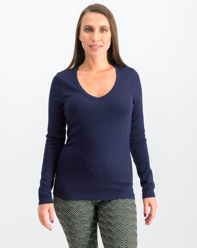 Women's Modern Long Sleeve V-Neck T-Shirt, Navy