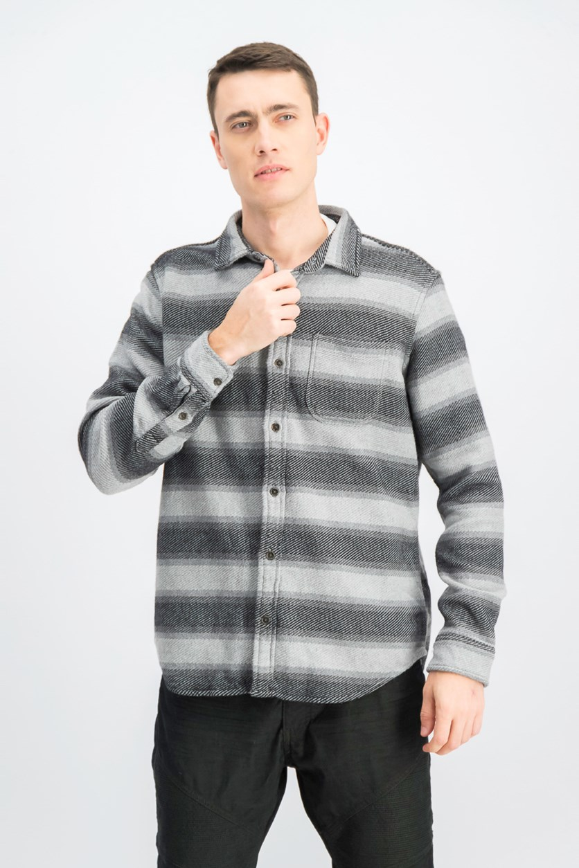 Men's Long Sleeve Knit Casual Shirt, Grey/Black