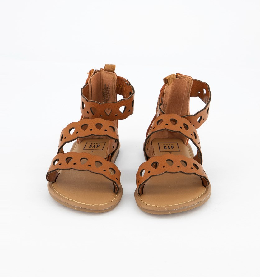 Toddler's Strappy Scalloped Sandals, Cognac