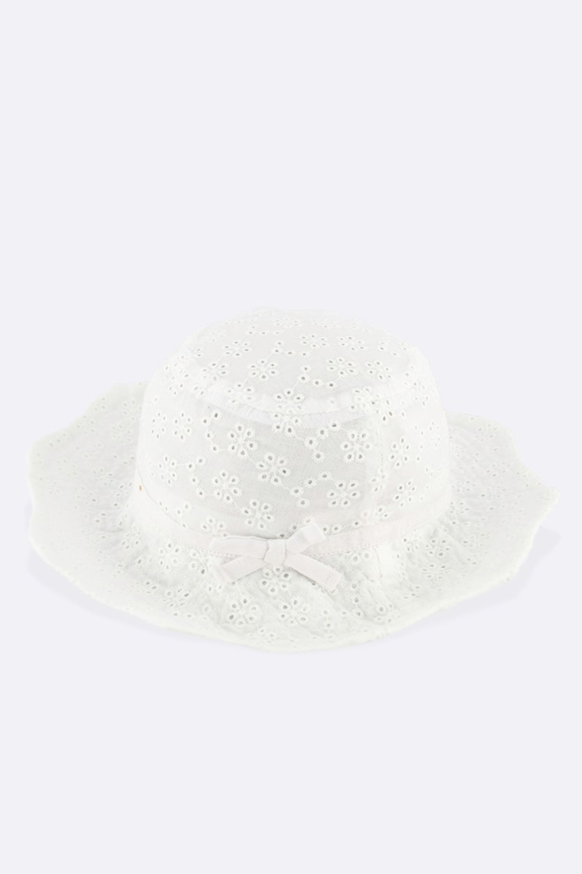 Kids Girls Eyelet Hat, White