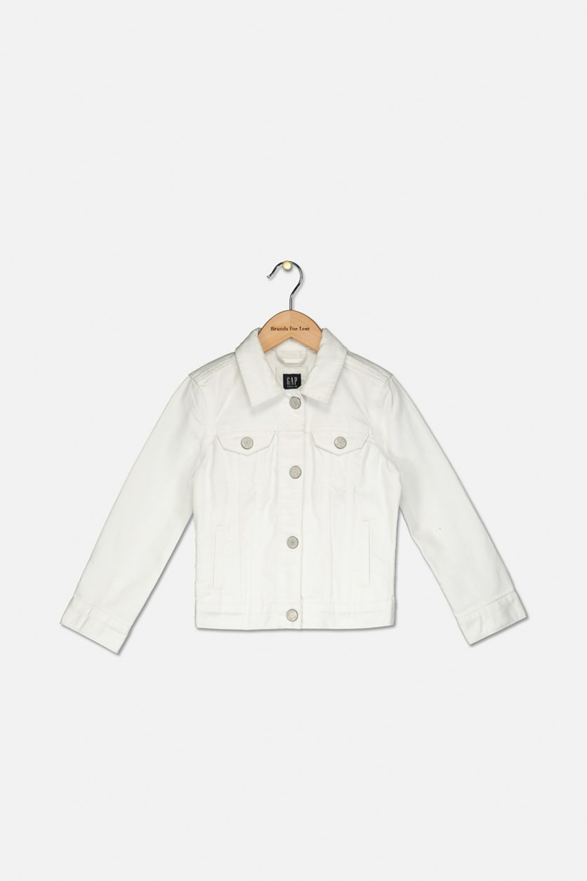 Kids Girl's Icon Denim Jacket, White