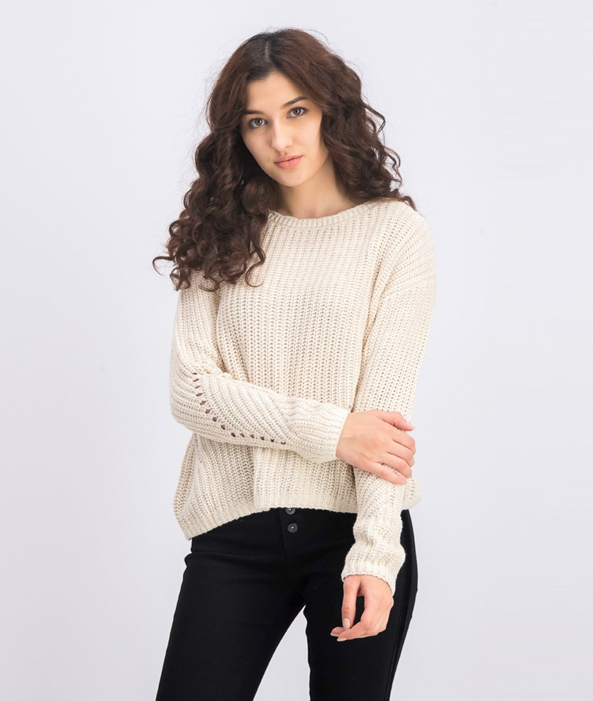Women's Cotton Long Sleeve Sweater, Beige