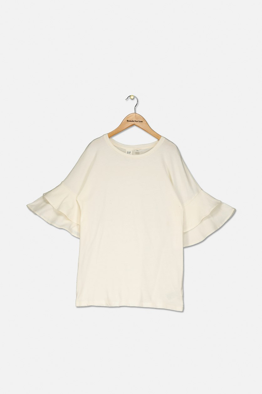 Girl's Ruffled Sleeve Top, Cream