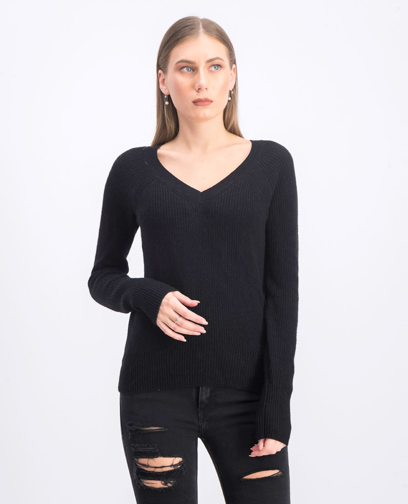 Women's V-Neck Sweater, Black