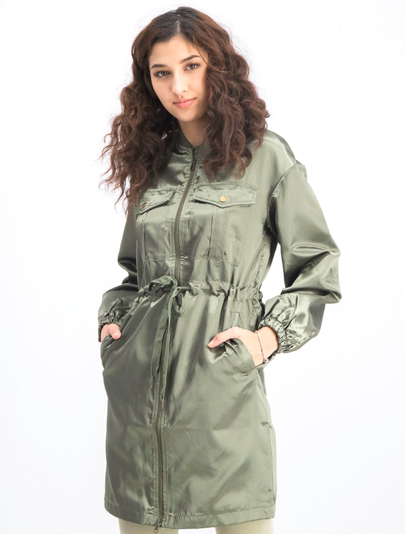 Women's Long Sleeve Plain Coat, Green Way