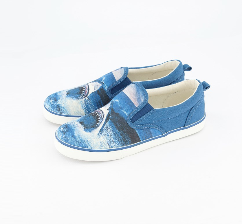 Boy's Shark Printed Slip On Shoes, Blue