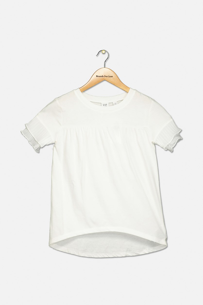Girl's Pleated Sleeve Top, Off White