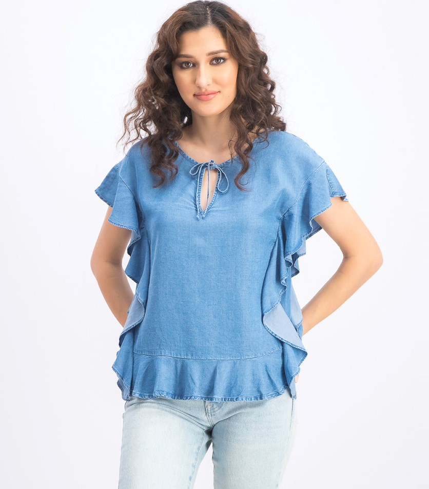 Women's Ruffled Top, Blue
