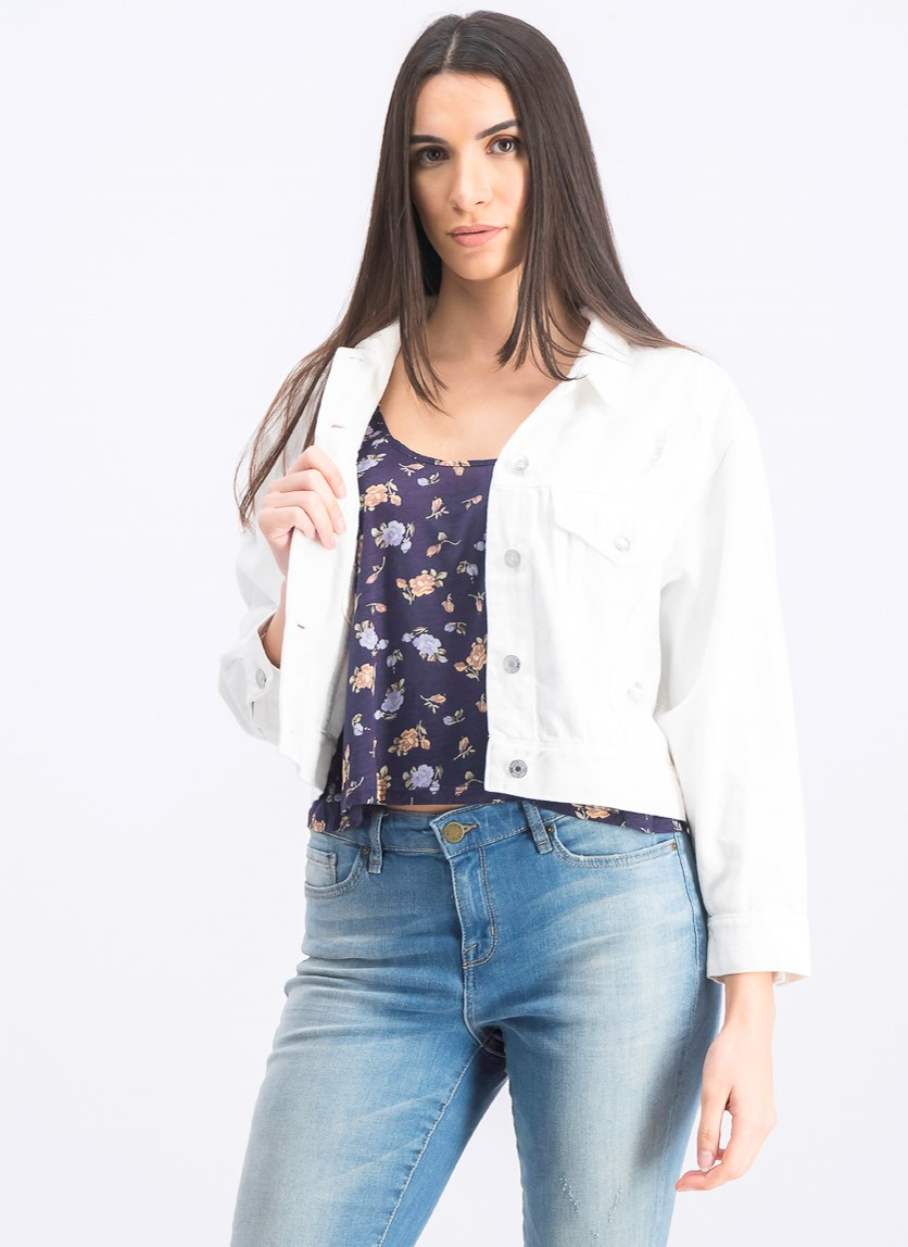 Women's Crop Icon Denim Jacket with Distressed Detail, White