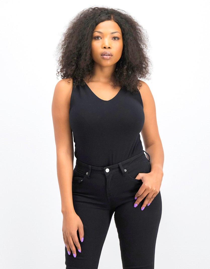 Women's Fitted V-Neck Bodysuit, Black
