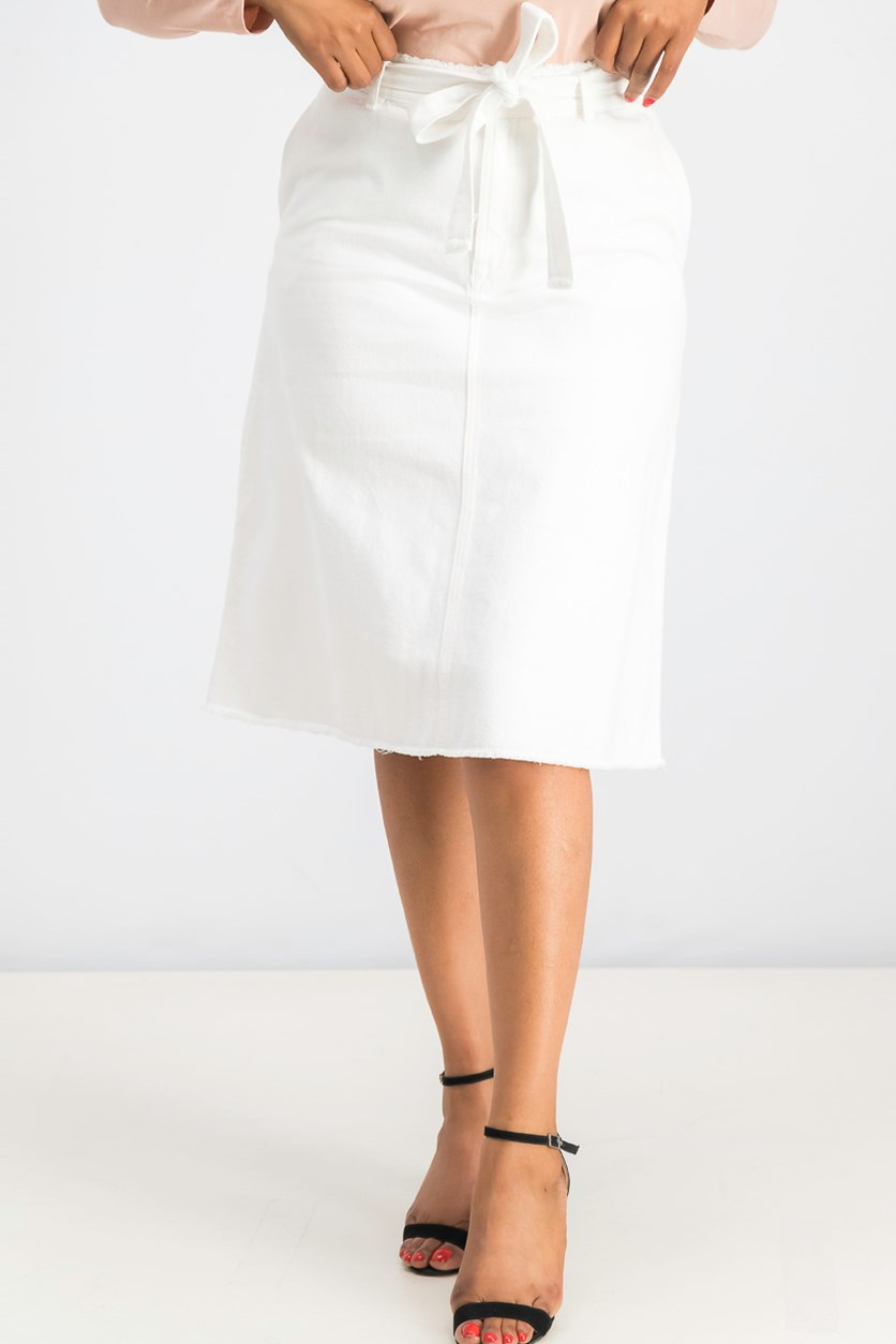 Women's Belted A Line Denim Skirt, White