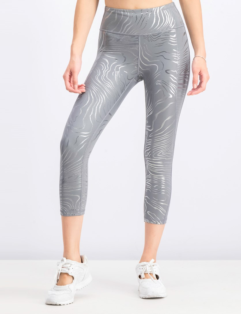 Women's Metallic Sculpt Compression Leggings, Grey/Silver