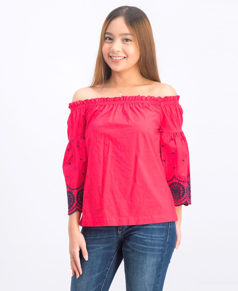 Women's Off Shoulder Embroidered Top, Red
