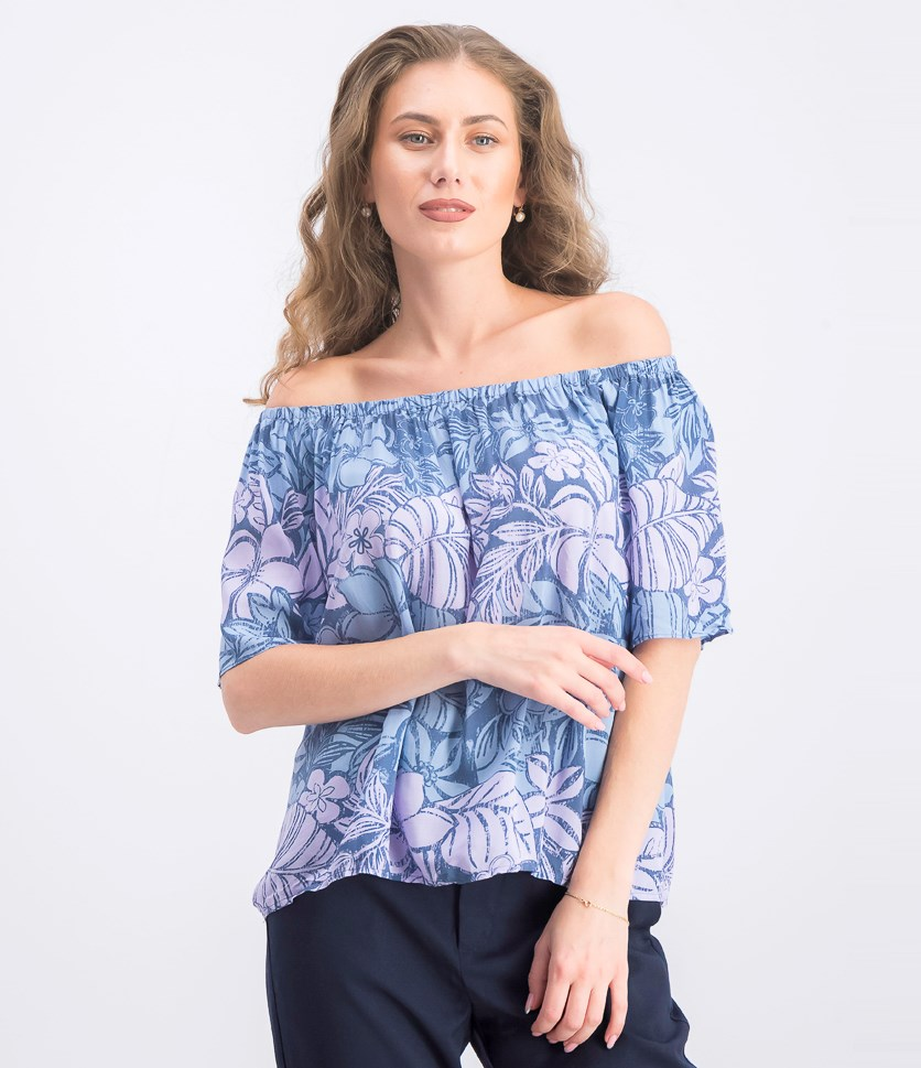 Women's Off-Shoulder Blouse, Blue/Pink