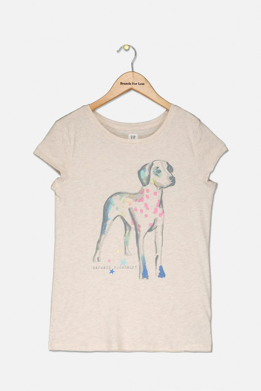Girl's Graphic Short Sleeve T-Shirt, Beige